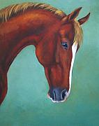 Chestnut Horse Paintings - Chestnut Horse by Oksana Zotkina