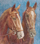 Richard Pastels - Chestnut Pals by Richard James Digance