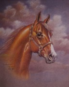 Dorothy Coatsworth Metal Prints - Chestnut Quarter Horse Metal Print by Dorothy Coatsworth