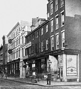 Philadelphia Scene Framed Prints - Chestnut Street - South Side of Philadelphia - c 1870 Framed Print by International  Images