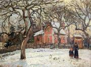 Fallen Snow Painting Prints - Chestnut Trees at Louveciennes Print by Camille Pissarro