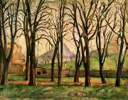 Crop Painting Prints - Chestnut trees at the Jas de Bouffan Print by Paul Cezanne