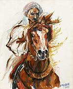 Featured Painting Posters - Cheval arabe monte en action Poster by Josette SPIAGGIA