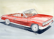 Engine Drawings Posters - Chevrolet 62 Impala Poster by Eva Ason
