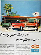 Mid-20th Framed Prints - Chevrolet Ad, 1957 Framed Print by Granger