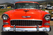 Transportation Acrylic Prints - Chevrolet Bel-Air Stationwagon . Orange . 7D15270 Acrylic Print by Wingsdomain Art and Photography