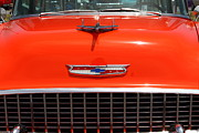 Transportation Acrylic Prints - Chevrolet Bel-Air Stationwagon . Orange . 7D15271 Acrylic Print by Wingsdomain Art and Photography