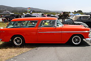 Transportation Acrylic Prints - Chevrolet Bel-Air Stationwagon . Orange . 7D15272 Acrylic Print by Wingsdomain Art and Photography
