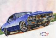 Chevelle Paintings - Chevrolet Chevelle 1966 by Diego Esquivel