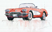Watercolor Framed Prints - Chevrolet Corvette C1 1960  Framed Print by Yuriy  Shevchuk