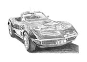 Chevrolet Drawings Metal Prints - Chevrolet Corvette C3  Metal Print by Gabor Vida