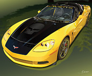 Automotive Illustration Framed Prints - chevrolet corvette C6.R for the street  Framed Print by Alain Jamar