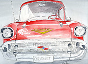 Vehicle Drawings Posters - Chevrolet Poster by Eva Ason