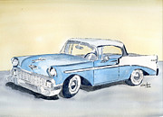Old Car Drawings Prints - Chevy Bel Air - 56 Print by Eva Ason