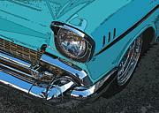 Samuel Sheats Posters - Chevy Bel Air Headlight and bumper Poster by Samuel Sheats
