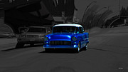Blue Chevy Prints - Chevy Bel Air Print by Ms Judi
