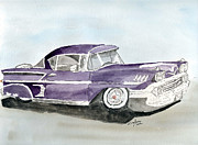 Chevrolet Drawings Metal Prints - Chevy Impala Lowrider -58 Metal Print by Eva Ason