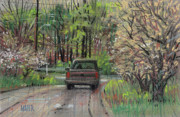 Plein Air Drawings Metal Prints - Chevy In Spring Metal Print by Donald Maier