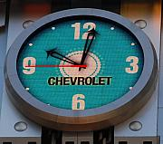 Clock Hands Posters - Chevy Neon Clock Poster by Rob Hans