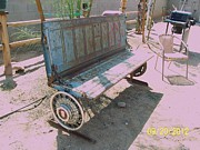 Found Art Sculpture Metal Prints - Chevy Tailgate bench Metal Print by JP Giarde