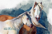 Mustang A Day Challenge Paintings - Cheyenne and Tripod by Linda L Martin