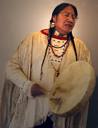 Chanting Prints - Cheyenne Native American Drummer Print by Nancy Griswold