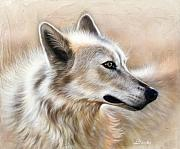 Wolf Portrait Paintings - Cheyenne by Sandi Baker