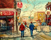 Montreal Neighborhoods Paintings - Chez De Gaulle Patisserie Deli by Carole Spandau