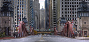 Lasalle Street Bridge Prints - CHI0078 LaSalle Street Bridge Chicago Print by Steve Sturgill