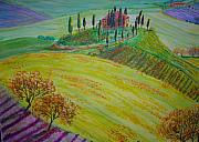Vineyards Mixed Media - Chianti Vineyard by Diana Sellers