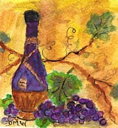 Chianti Vines Prints - Chianti Wine and Grapes Print by Debbie Wassmann