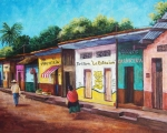 Painted Painting Posters - Chiapas Neighborhood Poster by Candy Mayer