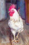 Farm Animals Pastels Prints - Chic Rooster Print by Edna Garrett