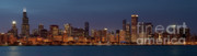 Panoramics Framed Prints - Chicago After Dusk Framed Print by Sandra Bronstein