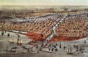 Cartography Paintings - Chicago As It Was by Currier and Ives