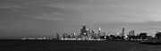 Chicago Skyline Bw Metal Prints - Chicago at Dusk in Black and White Metal Print by Twenty Two North Photography