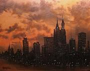 City Night Scene Paintings - Chicago at Dusk by Tom Shropshire
