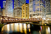 United Airlines Prints - Chicago at Night at Clark Street Bridge Print by Paul Velgos