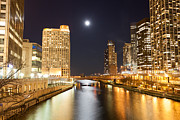 Chicago River Framed Prints - Chicago at Night at Columbus Drive Bridge Framed Print by Paul Velgos
