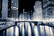 333 Prints - Chicago at Night at Dearborn Street Bridge Print by Paul Velgos