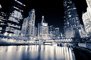 Airlines Prints - Chicago at Night at Michigan Avenue Bridge Print by Paul Velgos