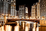 Mather Framed Prints - Chicago at Night at State Street Bridge Framed Print by Paul Velgos