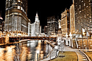 Trump Tower Posters - Chicago at Night at Wabash Avenue Bridge Poster by Paul Velgos