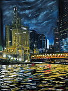 Chicago Pastels Posters - Chicago at night Poster by Bob Northway