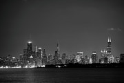Lights Photo Originals - Chicago at Night BW by John Gusky