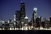 Skyline Posters - Chicago at Night High Resolution Poster by Paul Velgos