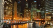 Water Digital Art Posters - Chicago at Night Poster by Jeff Kolker