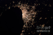 Indiana Photography Framed Prints - Chicago At Night Framed Print by NASA/Science Source