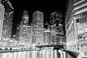 Chicago Black White Posters - Chicago at Night Poster by Paul Velgos