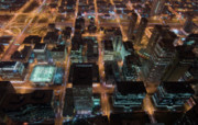 Tom Biegalski Prints - Chicago at night Print by Tom Biegalski